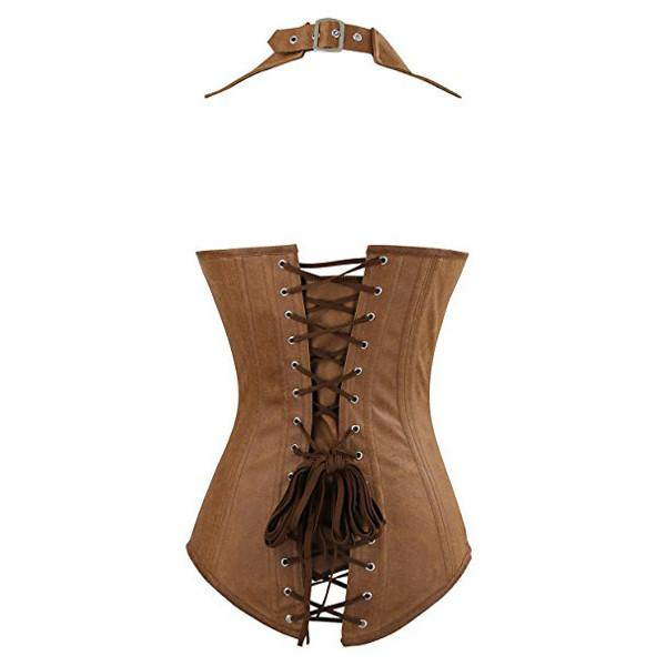 Leather Steampunk Collared Steel Boned Zip Vest Corset