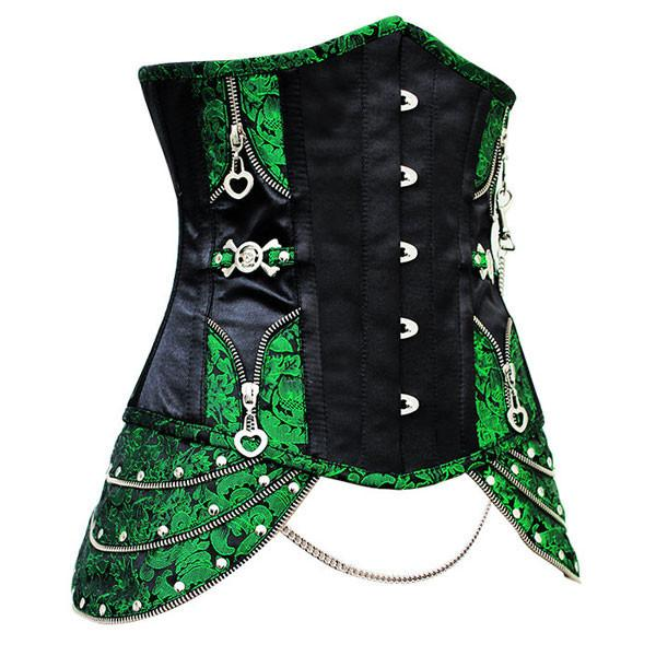 Long Style Leather Steampunk Halloween Outfits Clasp Chain Corset
