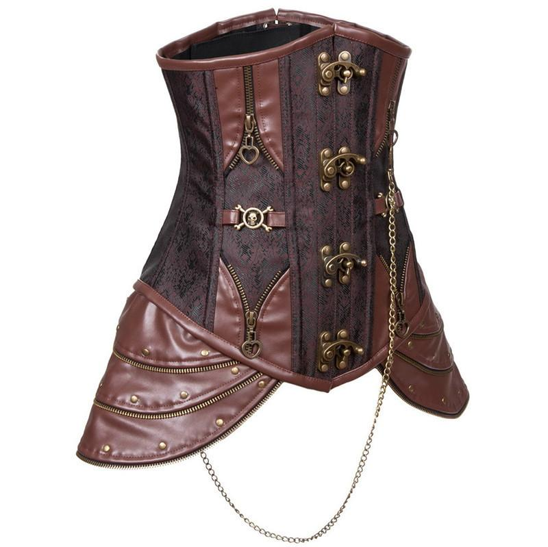 Medieval Steampunk Halloween Outfits Leather hip panel Underbust Coffee Corset