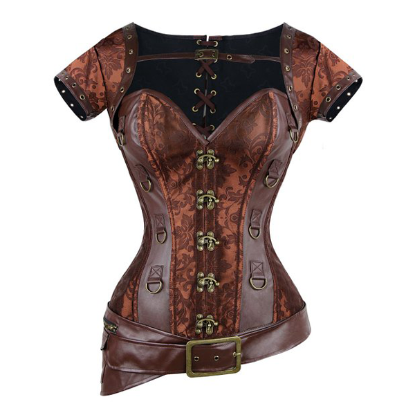 Retro Brocade Brown Steampunk Vest Overbust Corsets Jacket