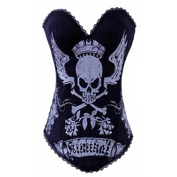 Rock Skull Print Back Buckle Black Overbust Corsets