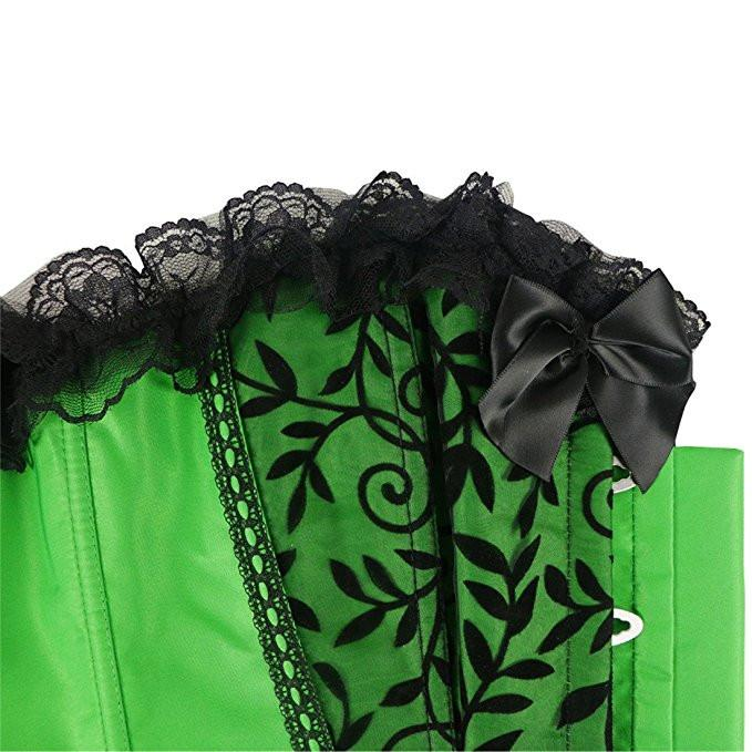 Satin Lace Trim Strapless Bustier Overbust Corset