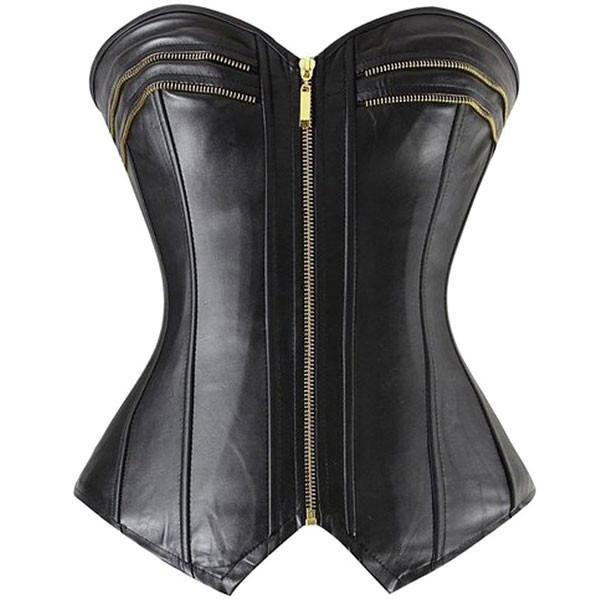 Sexy Faux Leather Zipper Front Gothic Black Corset