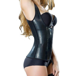 Sexy Latex Waist Trainer With Straps Shapewear Corsets Fajas Colombians