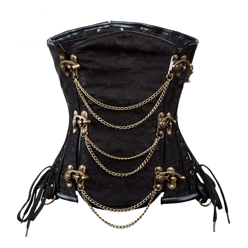Steampunk Chain Lace Embroidered Waist Cincher Underbust Corset