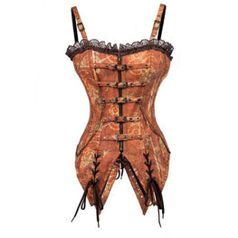 Steampunk Front Zipper Lace Strap Brown Brocade Corset