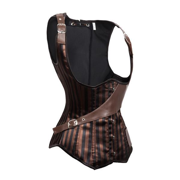 Steampunk Pocket Inclined Buckle Brocade Underbust Corset