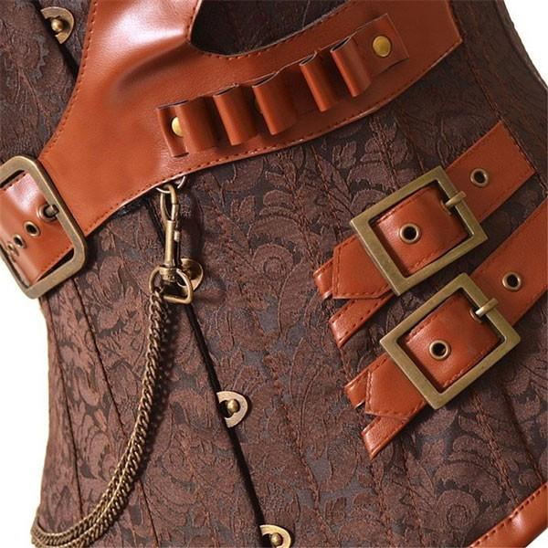 Women's Retro Steel Boned Steampunk Overbust Brown Corsets