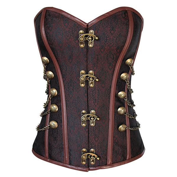 Victorian Steampunk Lace Up Brocade Corset with Chains