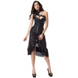 Steampunk Halter Buckles One-shoulder Ruffle Overbust Corset