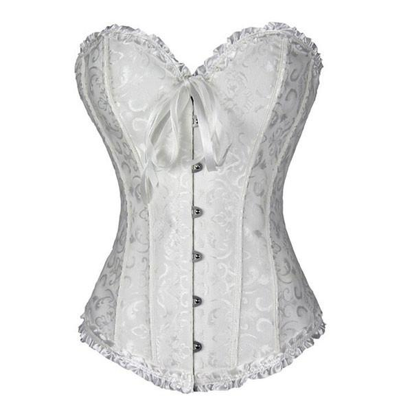 Womens Fashion Satin Classic Sweetheart Brocade Overbust Corset