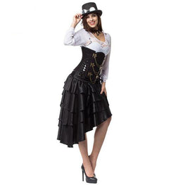 Brocade Underbust Corset Steampunk Costume With Skirt