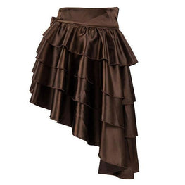 Brown Steampunk Gothic Skirt High Low Skirt