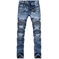 Mid Waist Jeans Patch With Leather Men's Jeans Straight Pants