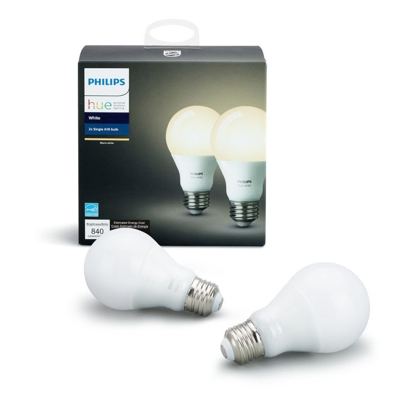 Philips Hue White A19 2-Pack 60W Equivalent Dimmable LED Smart Bulb