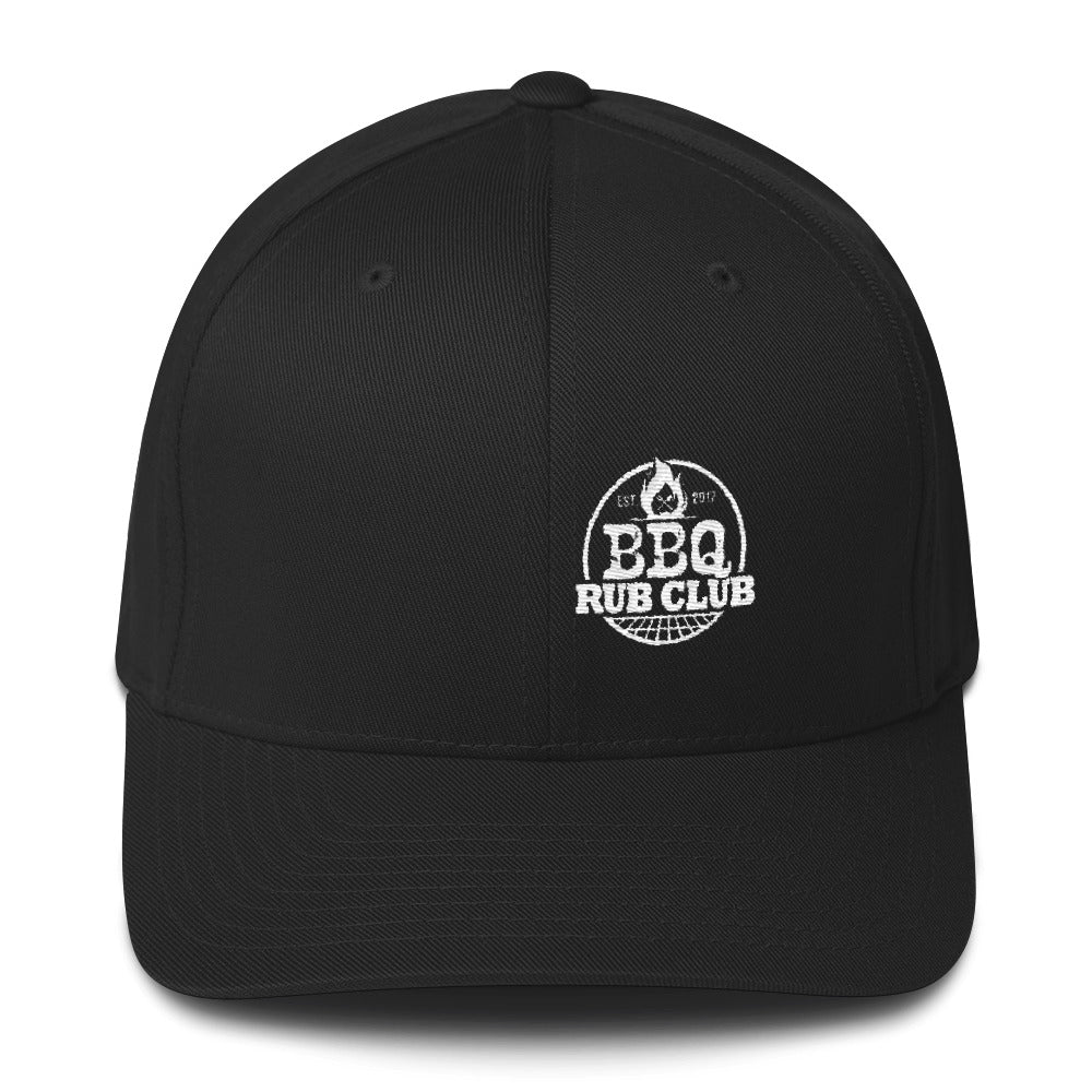 BBQ Rub Club Flex Fit Hat White Logo