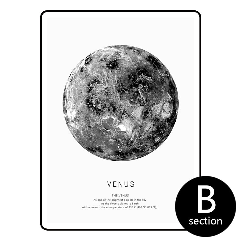 Earth, Venus, Moon canvas print series