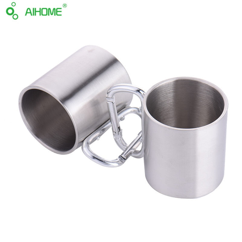 Stainless steel mug with a handy clip for outdoor camping, wanderlust outdoor adventure, festival fashion, glamping gear, sustainable, eco-friendly cup mug, silver mug, gift or cool stuff to travel with travel accessories, hiking mug