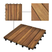 10 pcs Acacia Decking Tiles 30 x 30 cm Vertical Pattern Kings Warehouse