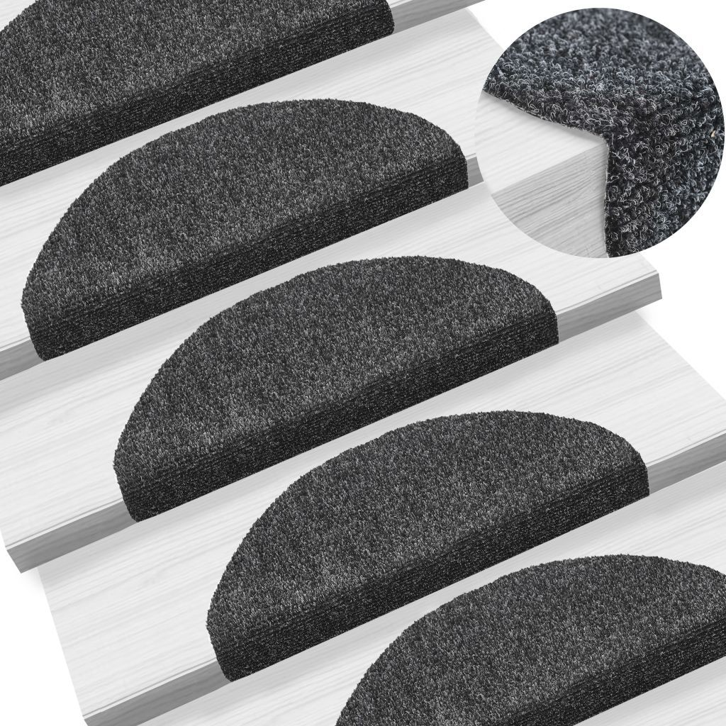 15pcs Self-adhesive Stair Mats Needle Punch 65x21x4cm Dark Grey Kings Warehouse