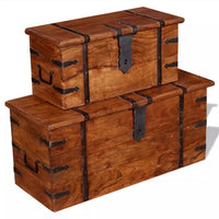 2 Piece Storage Chest Set Solid Wood Kings Warehouse
