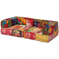 2-Seater Modular Sofa Bed Fabric Patchwork Kings Warehouse