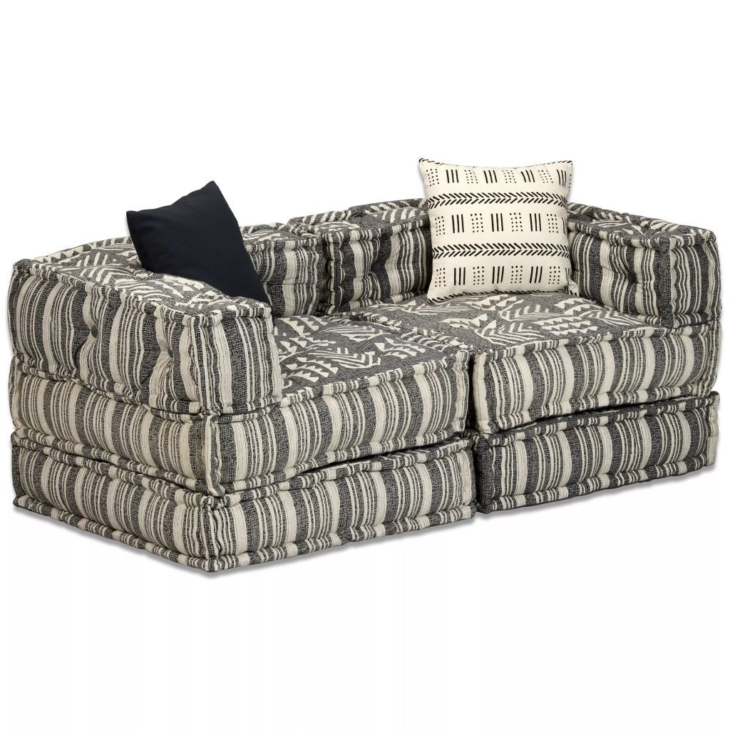 2-Seater Modular Sofa Bed Fabric Stripe Kings Warehouse