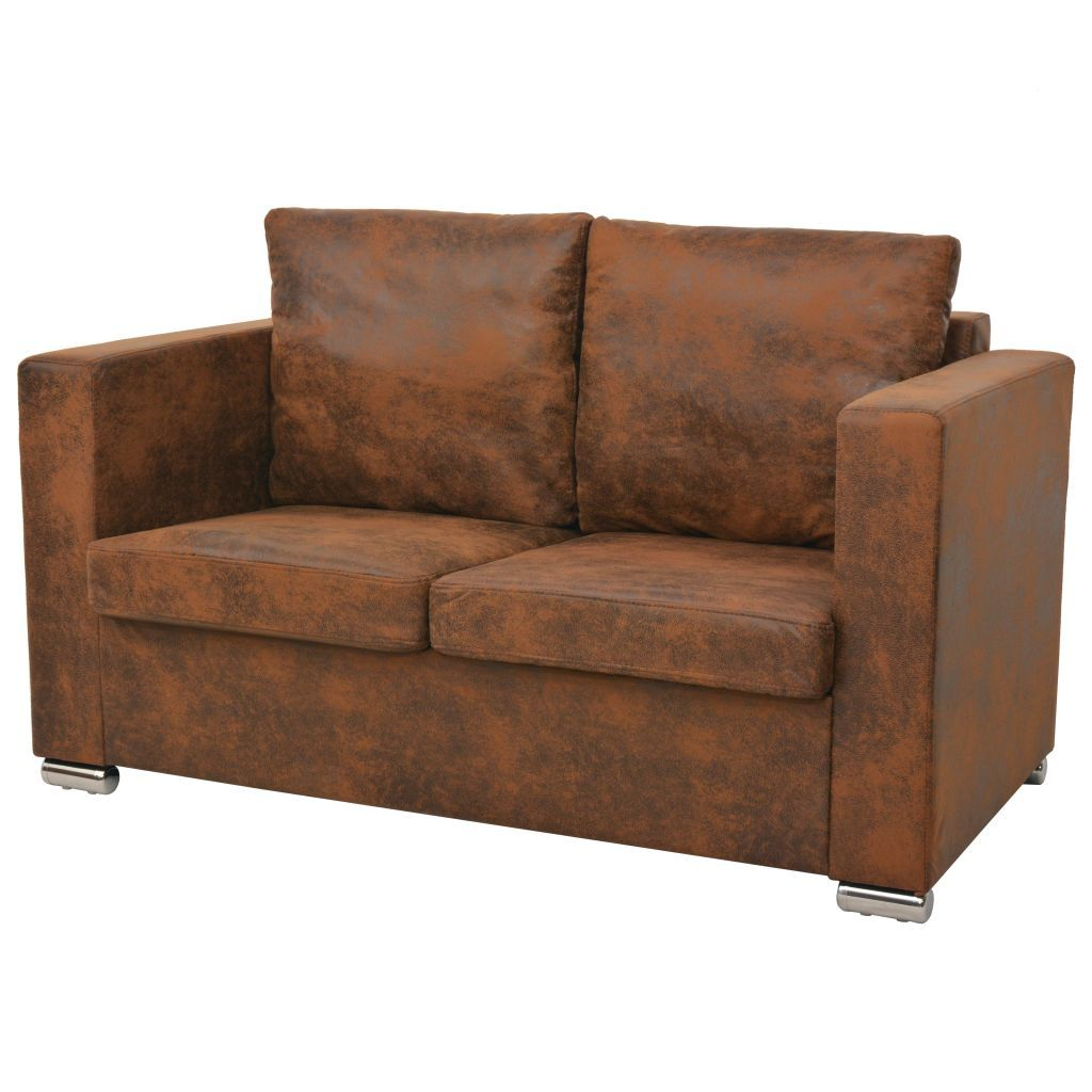 2-Seater Sofa 137x73x82 cm Artificial Suede Leather Kings Warehouse