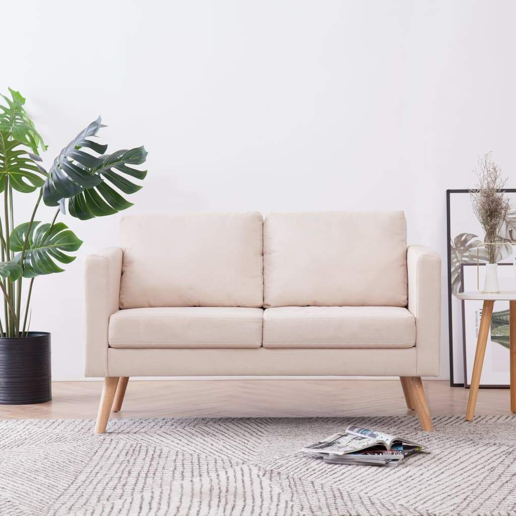 2-Seater Sofa Fabric Cream Kings Warehouse