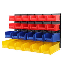 24 Bin Wall Mounted Rack Storage Tools Steel Board Organiser Work Bench Garage