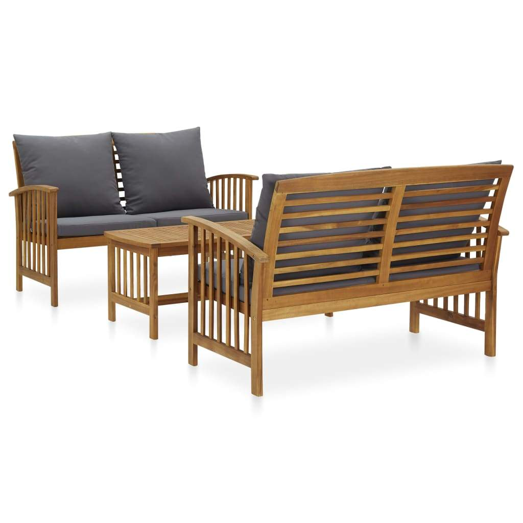 3 Piece Garden Lounge Set with Cushions Solid Acacia Wood (310261+310264) Kings Warehouse