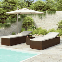 3 Piece Garden Sun Loungers with Tea Table Poly Rattan Brown Kings Warehouse