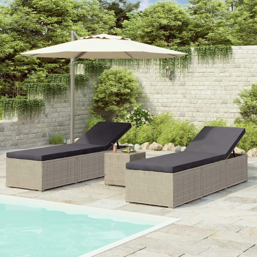 3 Piece Garden Sun Loungers with Tea Table Poly Rattan Grey Kings Warehouse