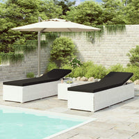 3 Piece Garden Sun Loungers with Tea Table Poly Rattan White