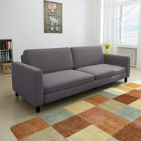 3-Seater Sofa Dark Grey Fabric Kings Warehouse