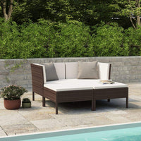 4 Piece Garden Lounge Set with Cushions Poly Rattan Brown Kings Warehouse