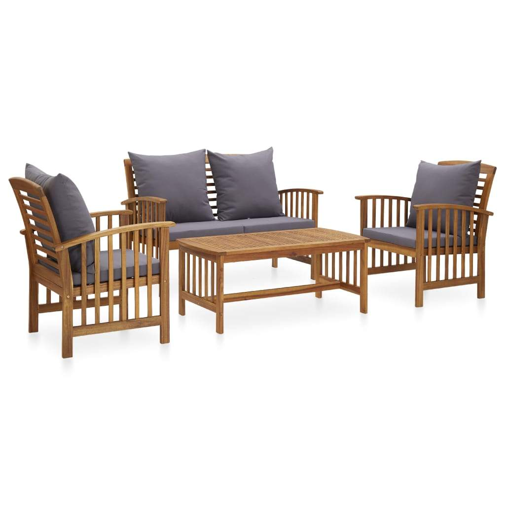 4 Piece Garden Lounge Set with Cushions Solid Acacia Wood (310258+310264) Kings Warehouse