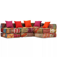 4-Seater Modular Sofa Bed Fabric Patchwork