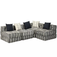 4-Seater Modular Sofa Bed Fabric Stripe Kings Warehouse