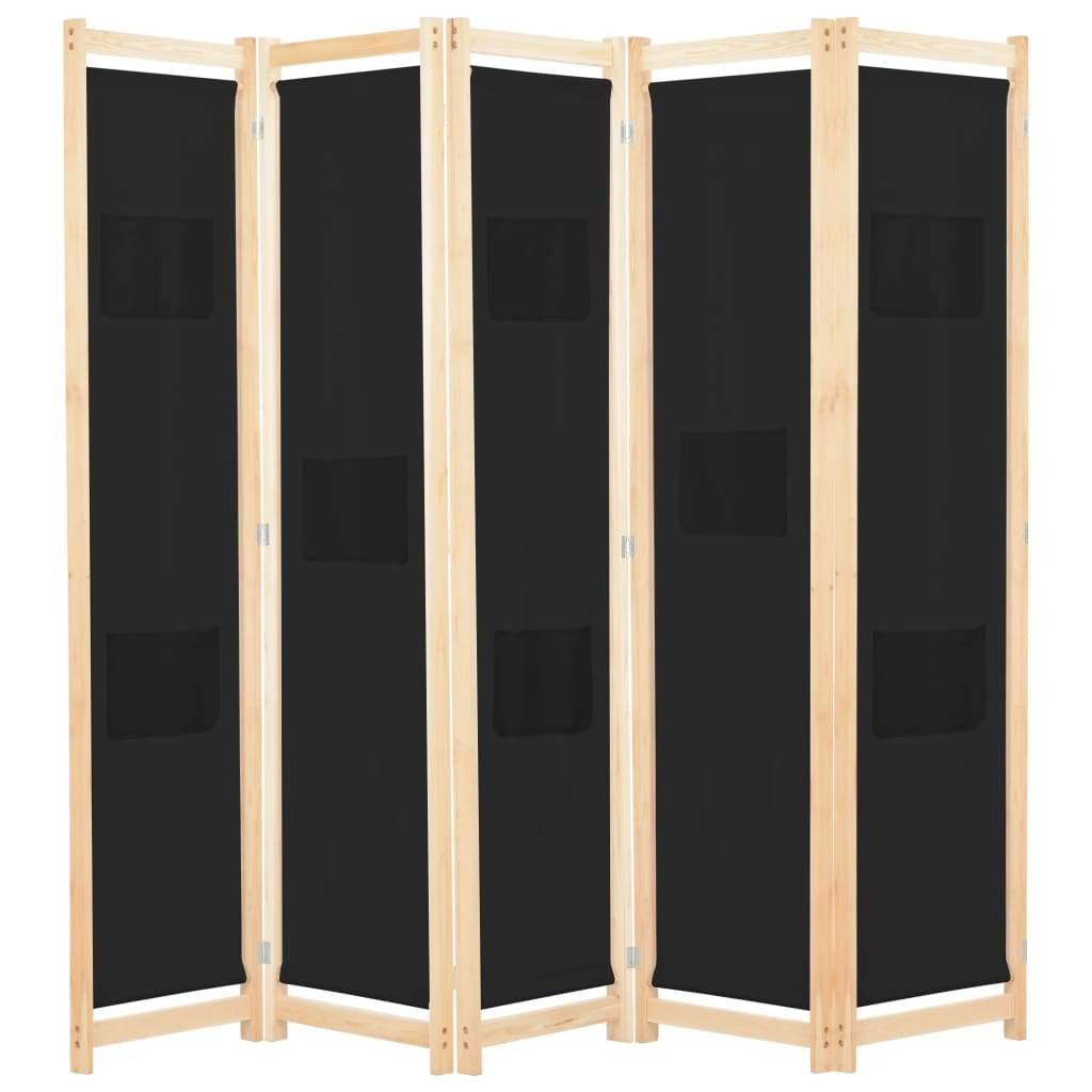 5-Panel Room Divider Black 200x170x4 cm Fabric Kings Warehouse