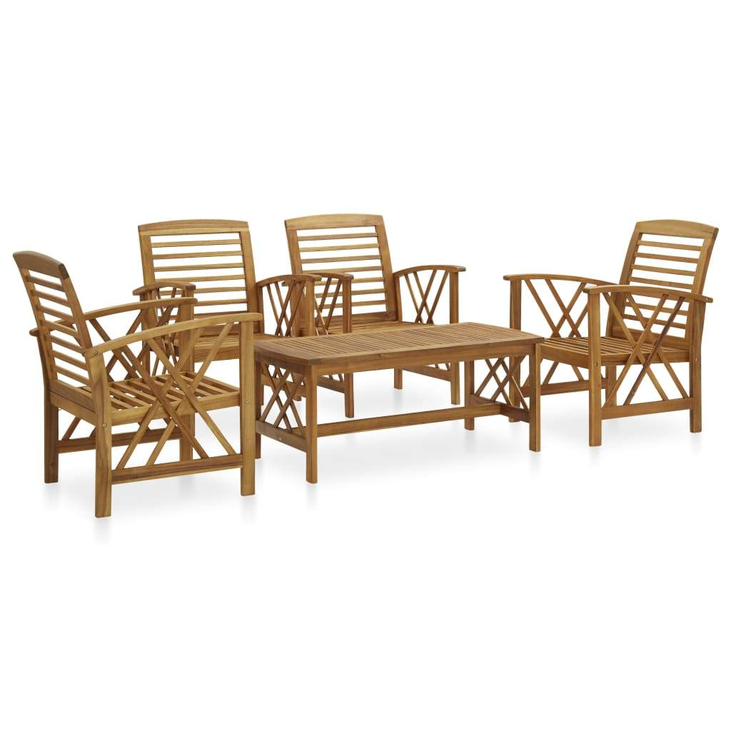 5 Piece Garden Lounge Set Solid Acacia Wood Kings Warehouse