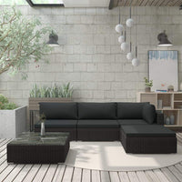 5 Piece Garden Lounge Set with Cushions Poly Rattan Black Kings Warehouse