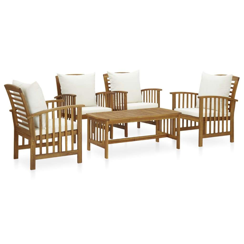 5 Piece Garden Lounge Set with Cushions Solid Acacia Wood (310255+2x310257) Kings Warehouse