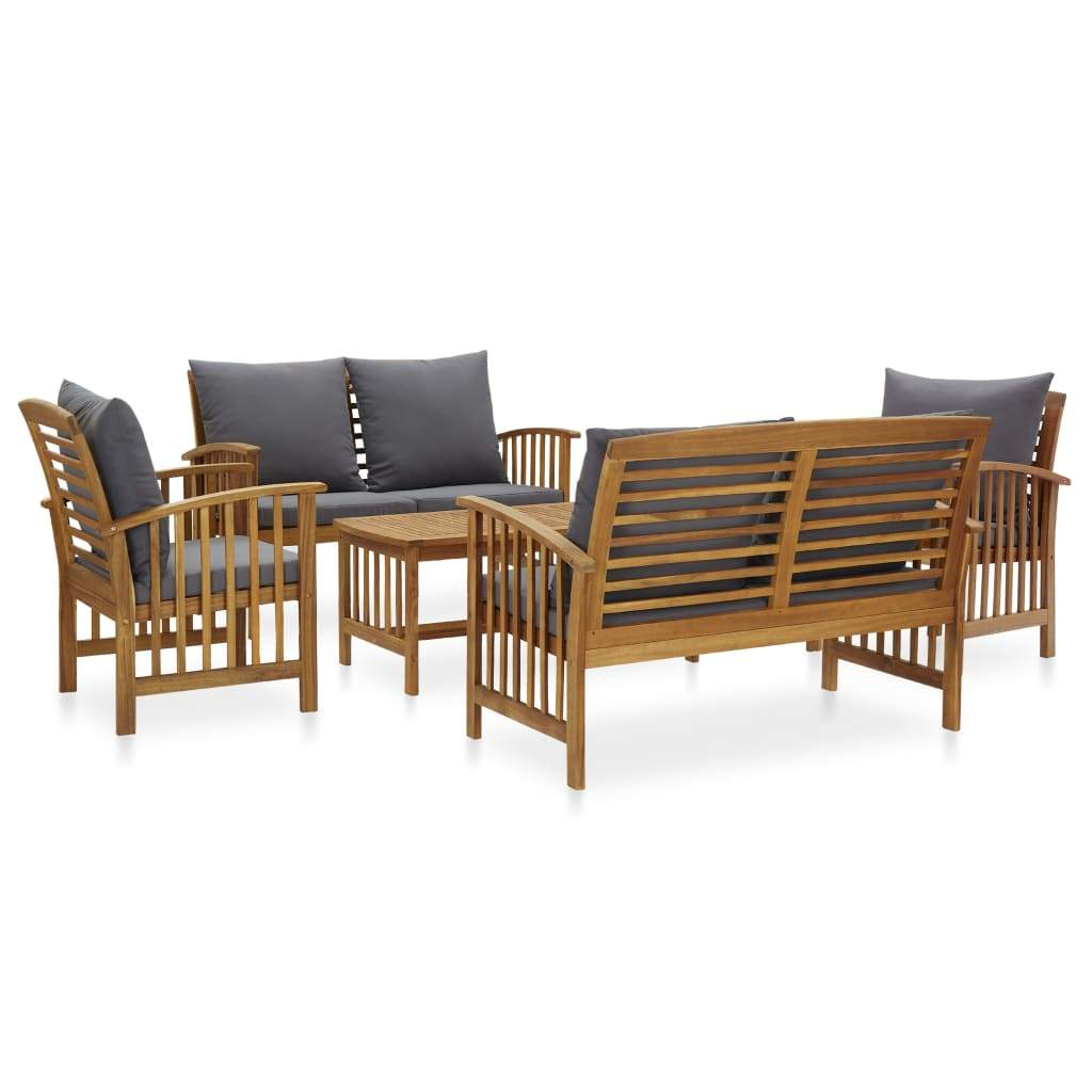 5 Piece Garden Lounge Set with Cushions Solid Acacia Wood (310258+310261+310264) Kings Warehouse