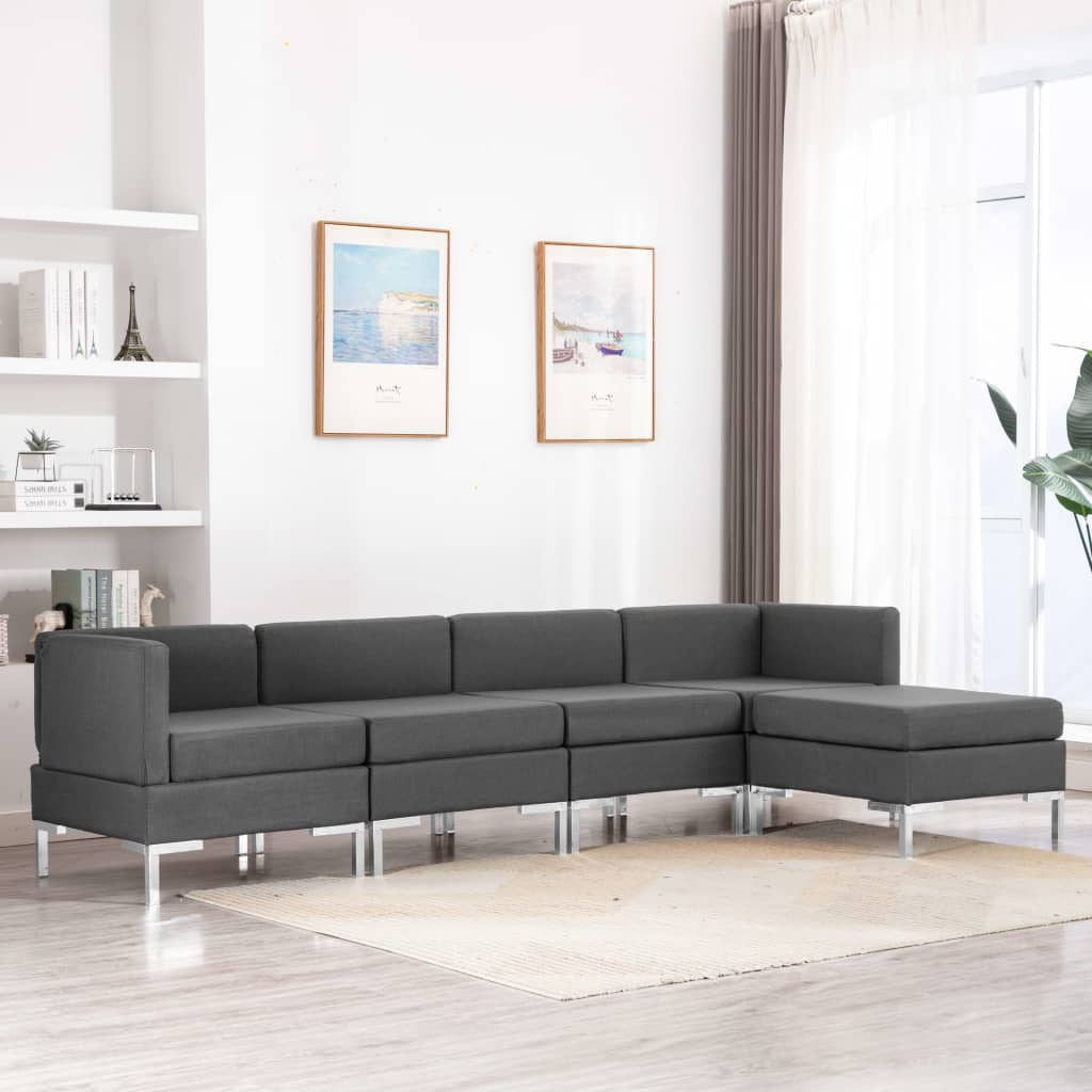 5 Piece Sofa Set Fabric Dark Grey Kings Warehouse