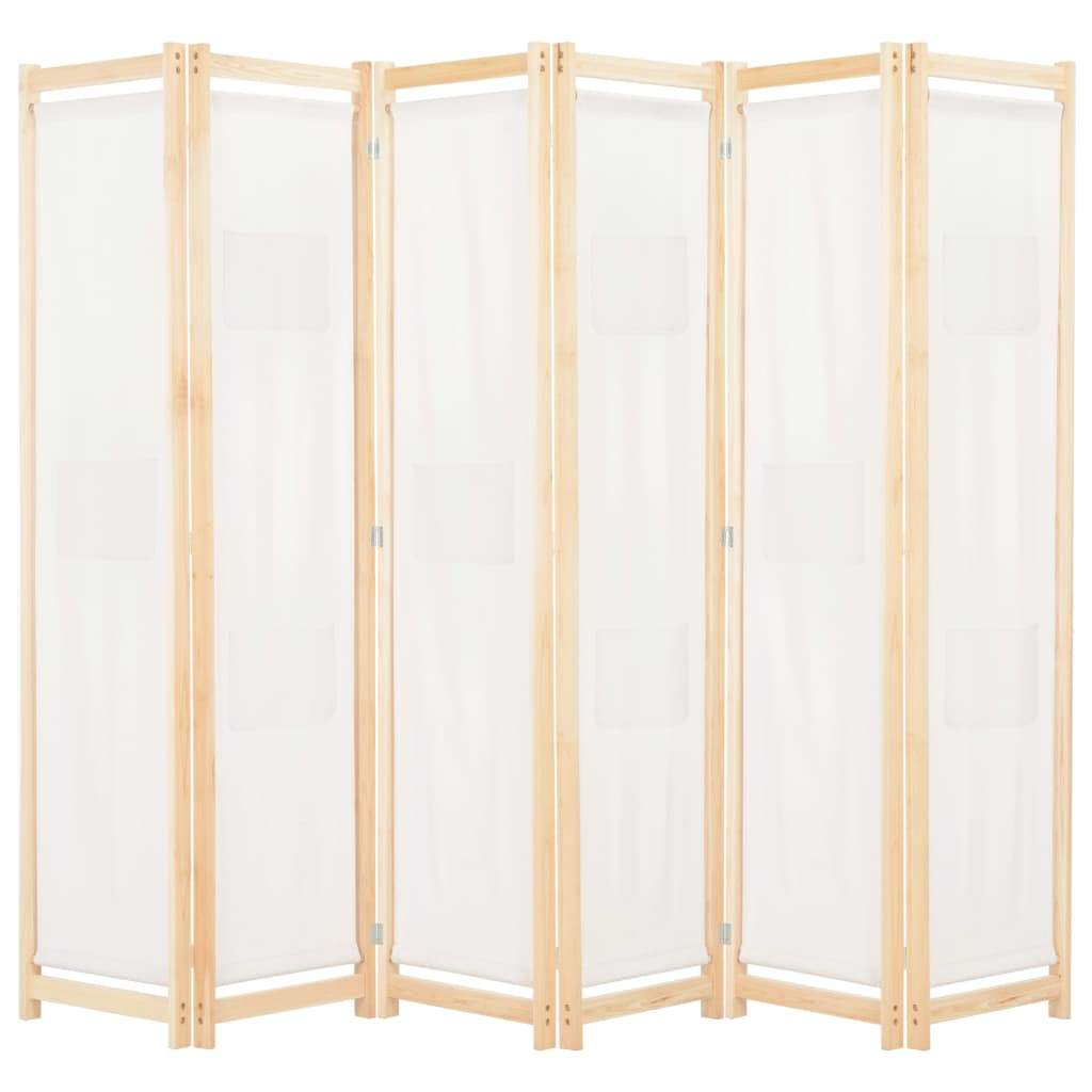6-Panel Room Divider Cream 240x170x4 cm Fabric Kings Warehouse