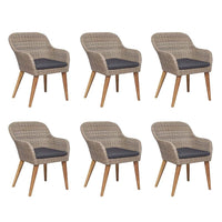 7 Piece Outdoor Dining Set with Cushions Poly Rattan Kings Warehouse