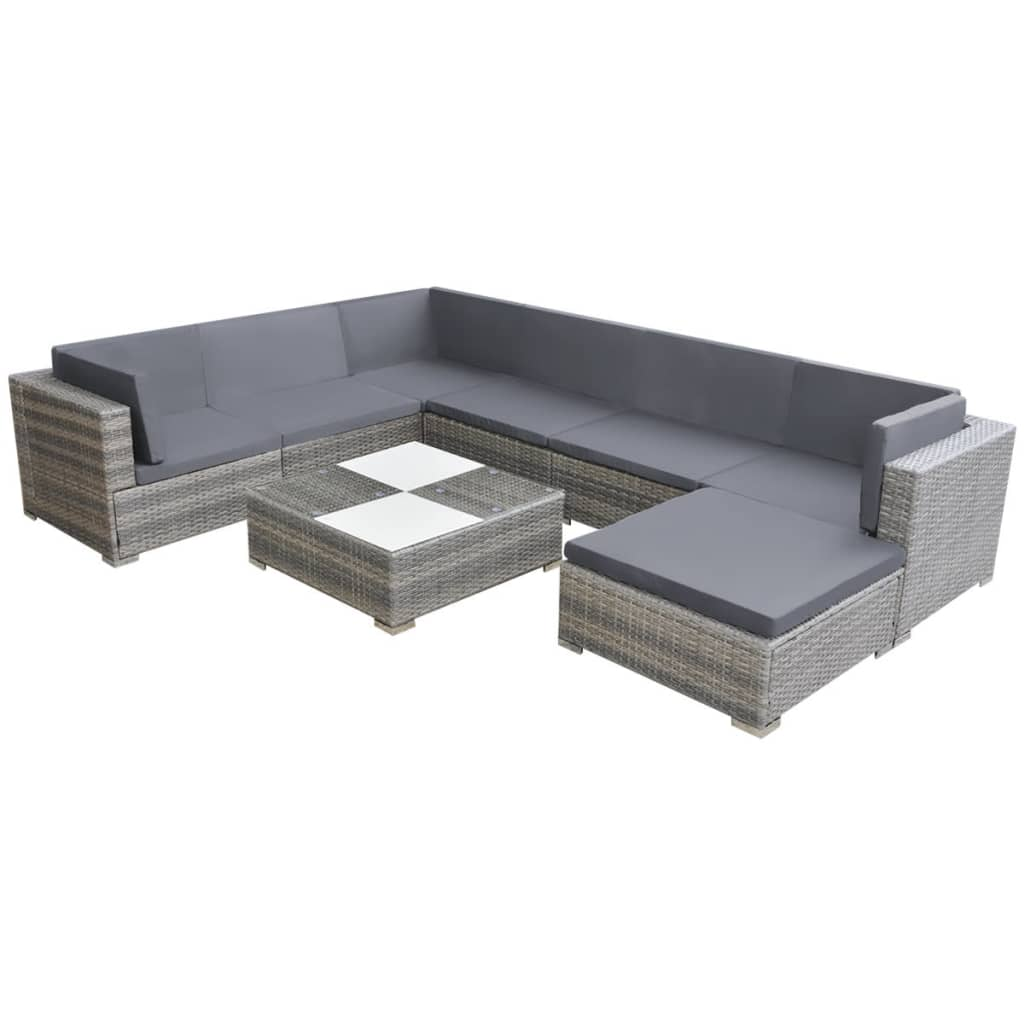 8 Piece Garden Lounge Set with Cushions Poly Rattan Grey Kings Warehouse