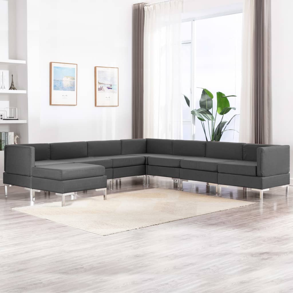 8 Piece Sofa Set Fabric Dark Grey Kings Warehouse