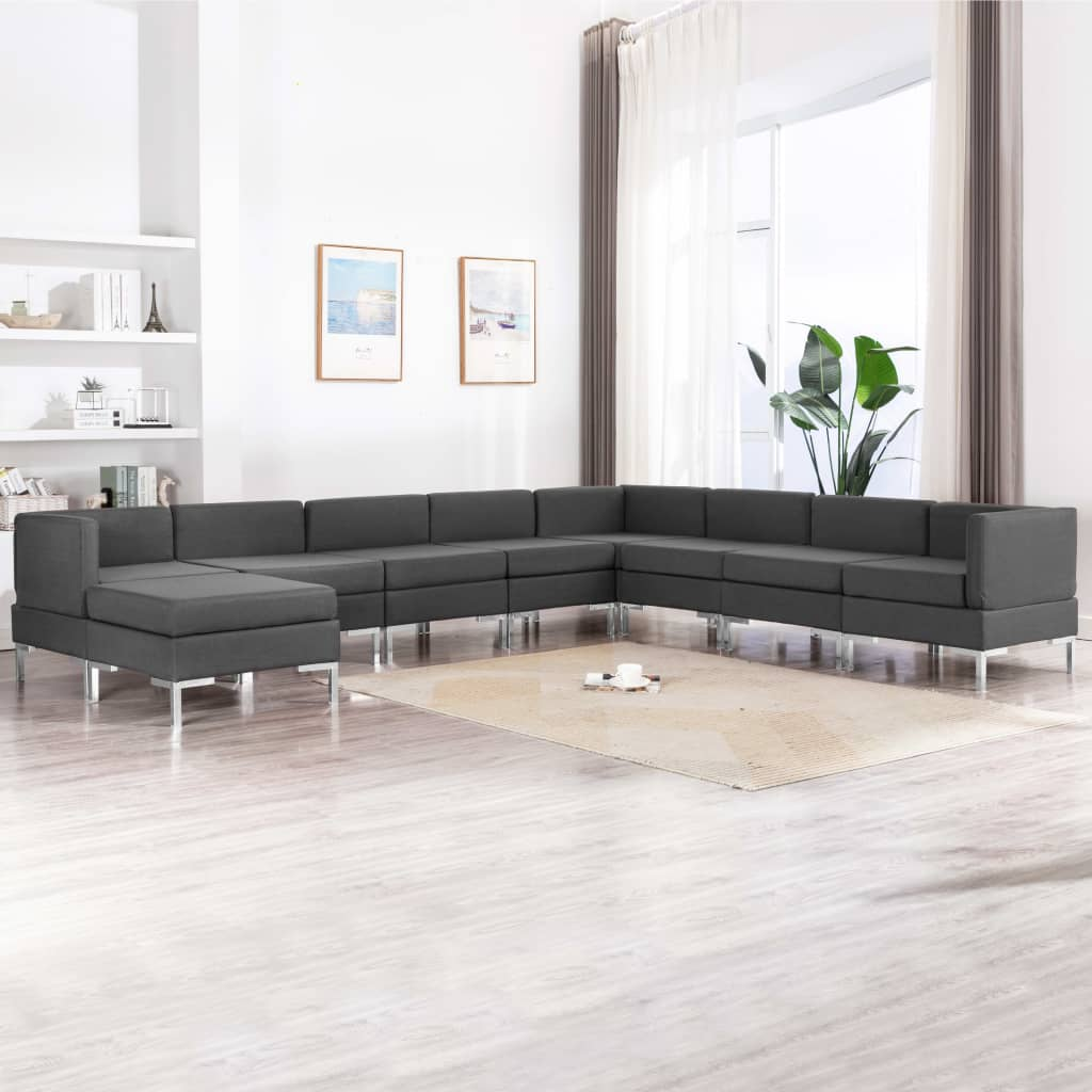 9 Piece Sofa Set Fabric Dark Grey Kings Warehouse